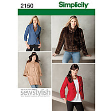 Buy Simplicity Sew Stylish Jackets Sewing Leaflet, 2150, R5 Online at johnlewis.com