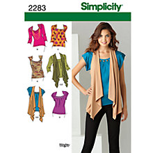 Buy Simplicity Knit Tops & Vest Sewing Leaflet, 2283, R5 Online at johnlewis.com