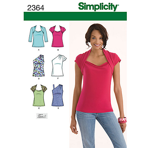 Buy Simplicity Knit Tops Sewing Leaflet, 2364 Online at johnlewis.com