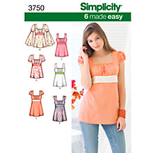Buy Simplicity 6 Made Easy Tops Dressmaking Leaflet, 3750, K5 Online at johnlewis.com