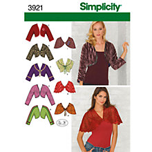 Buy Simplicity Boleros & Capelets Sewing Leaflet, 3921, U5 Online at johnlewis.com