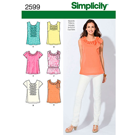 Buy Simplicity Tops Sewing Leaflet, 2599 Online at johnlewis.com