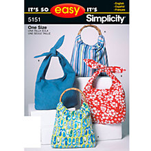 Buy Simplicity It's So Easy Bags Sewing Pattern Leaflet, 5151 Online at johnlewis.com