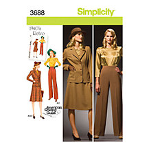 Buy Simplicity 1940s Retro Outfit Sewing Pattern, 3688 Online at johnlewis.com
