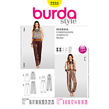 Buy Burda Womens' Combination Jumpsuit Sewing Pattern, B7235 Online at johnlewis.com