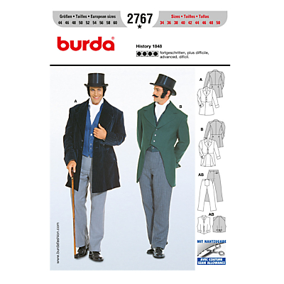 Burda Mens Historical Costume Sewing Pattern 2767 £7.95 AT vintagedancer.com