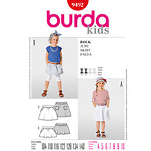 Buy Simplicity Burda Children Skirts Sewing Pattern, B9492 Online at johnlewis.com