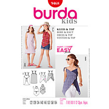 Buy Simplicity Burda Children Dress and Top Sewing Pattern, B9468 Online at johnlewis.com
