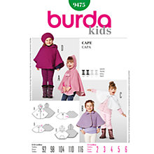 Buy Simplicity Burda Children Cape Sewing Pattern, B9475 Online at johnlewis.com