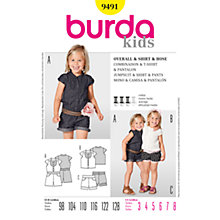 Buy Burda Girl's Playsuit, Shirt and Shorts Sewing Pattern, 9491 Online at johnlewis.com