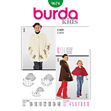 Buy Simplicity Burda Children's Cape Sewing Pattern, 9674 Online at johnlewis.com