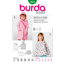 Buy Burda Children Coat and Jacket Sewing Pattern, B9458 Online at johnlewis.com