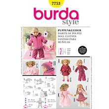 Buy Simplicity Burda Doll Clothes Sewing Pattern, B7753 Online at johnlewis.com