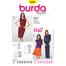 Buy Burda Women's Dress Sewing Pattern, 6988 Online at johnlewis.com