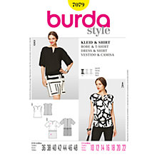 Buy Burda Women's Bateau Neck Top & Dress Sewing Pattern, 7079 Online at johnlewis.com