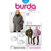 Buy Burda Women's Cape Coat Sewing Pattern, 7422 Online at johnlewis.com