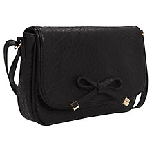 Buy Mango Bow Pebbled-Effect Handbag, Black Online at johnlewis.com