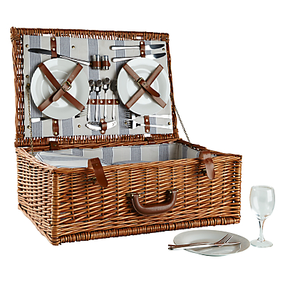 John Lewis Luxury Willow Striped Picnic Hamper, 4 Persons