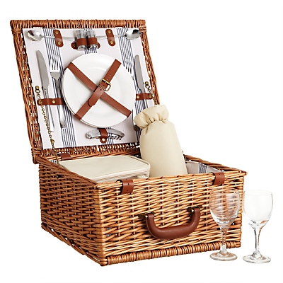 John Lewis Luxury Willow Striped Picnic Hamper, 2 Person