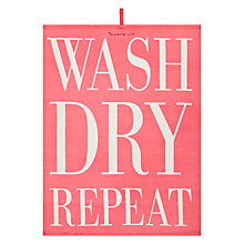 Buy Bloomingville 'Wash, Dry, Repeat' Tea Towel, Assorted Online at johnlewis.com
