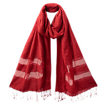 Buy East Sheer Stripe Detail Scarf, Pillarbox Red Online at johnlewis.com