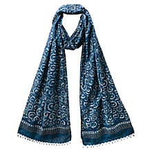 Buy East Anokhi Swirl Print Scarf, Indigo Online at johnlewis.com