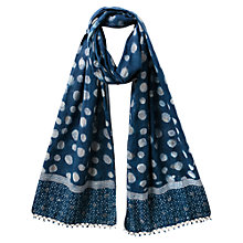 Buy East Anokhi Spot Print Scarf, Indigo Online at johnlewis.com