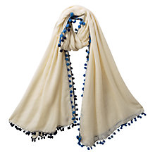 Buy East Pompeii Pom Pom Scarf, White Online at johnlewis.com