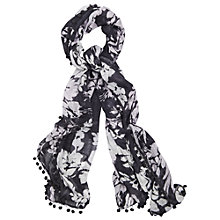 Buy Phase Eight Lily Floral Pom Pom Scarf, Grey Online at johnlewis.com