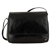 Buy Tula Originals Large Flapover Leather Across Body Bag, Black Online at johnlewis.com