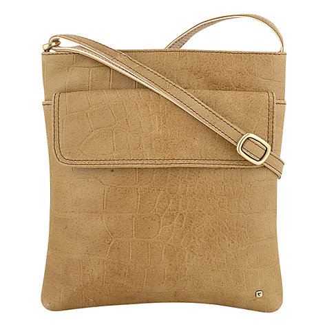 Buy Tula Original Large Zip Cross Body Leather Bag, Tan Alligator Online at johnlewis.com