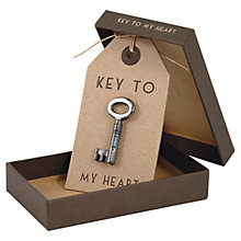 Buy East of India Key to My Heart Boxed Charm Online at johnlewis.com
