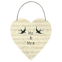 Buy East of India Mrs and Mrs Hanging Heart Decoration Online at johnlewis.com