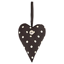 Buy East of India Fabric Heart, Black Dots Online at johnlewis.com