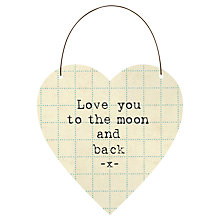 Buy East of India Moon and Back Hanging Heart Decoration Online at johnlewis.com