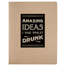 Buy East of India Ideas Whilst Drunk Stitched Notebook Online at johnlewis.com
