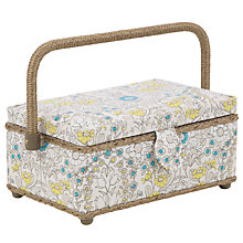 Buy John Lewis Daisychain Print Rectangular Sewing Basket, Teal Online at johnlewis.com