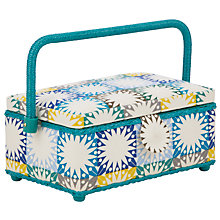 Buy John Lewis Multi Square Sewing Basket with Accessories, Blue Multi Online at johnlewis.com