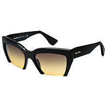 Buy Miu Miu MU11OS 1AB1F2 Angular Bottomless Acetate Frame Sunglasses, Black Online at johnlewis.com
