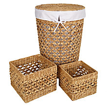 Buy John Lewis Water Hyacinth Laundry Basket and Storage Basket Set, 3 Piece Online at johnlewis.com