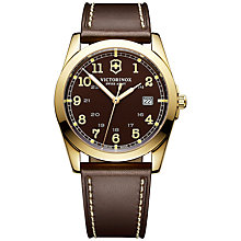 Buy Victorinox 241616 Men's Infantry Leather Strap Watch, Gold / Brown Online at johnlewis.com