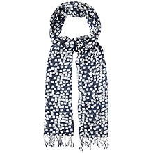 Buy White Stuff Bowler Hat Printed Scarf, Dark Ink Online at johnlewis.com
