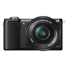 "Buy Sony A5000 Compact System Camera with 16-50mm Lens, HD 1080p, 20.1MP, Wi-Fi, 3"" Tilting LCD Screen with 16GB + 8GB Memory Card Online at johnlewis.com"