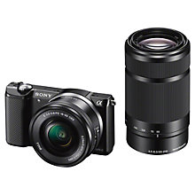 "Buy Sony A5000 Compact System Camera with 16-50mm & 55-210mm Lenses, HD 1080p, 20.1MP, Wi-Fi, 3"" Tilting LCD Screen with 16GB + 8GB Memory Card Online at johnlewis.com"