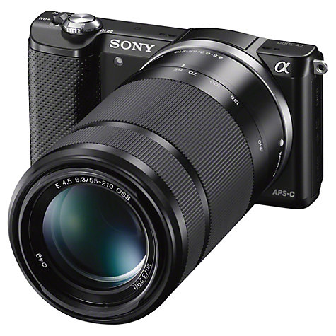 "Buy Sony A5000 Compact System Camera with 16-50mm & 55-210mm Lenses, HD 1080p, 20.1MP, Wi-Fi, 3"" Tilting LCD Screen Online at johnlewis.com"