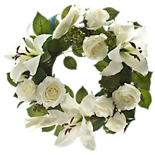 Buy Peony Rose and Lily Wreath, White Online at johnlewis.com