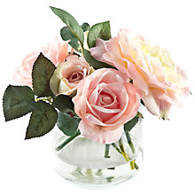 Buy Peony Rose Mix In Glass Cube, Pink, Large Online at johnlewis.com