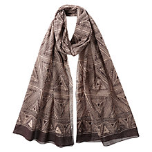 Buy East Tribal Print Scarf, Cocoa Online at johnlewis.com