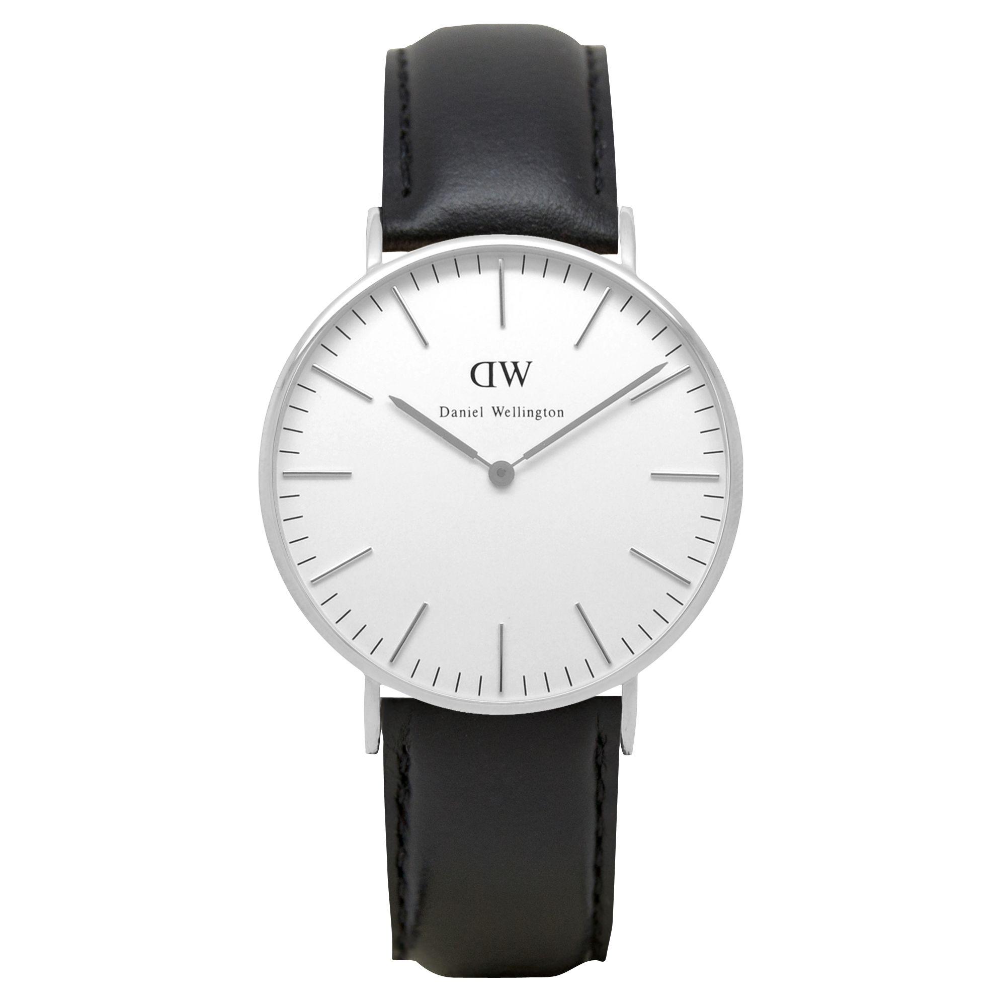 Daniel Wellington Daniel Wellington 0608DW Women's Vintage Leather Strap Watch, Black/White