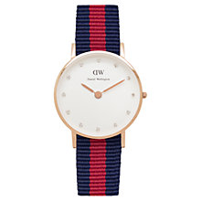 Buy Daniel Wellington Women's Classy Rose Gold Plated Nato Fabric Strap Watch Online at johnlewis.com